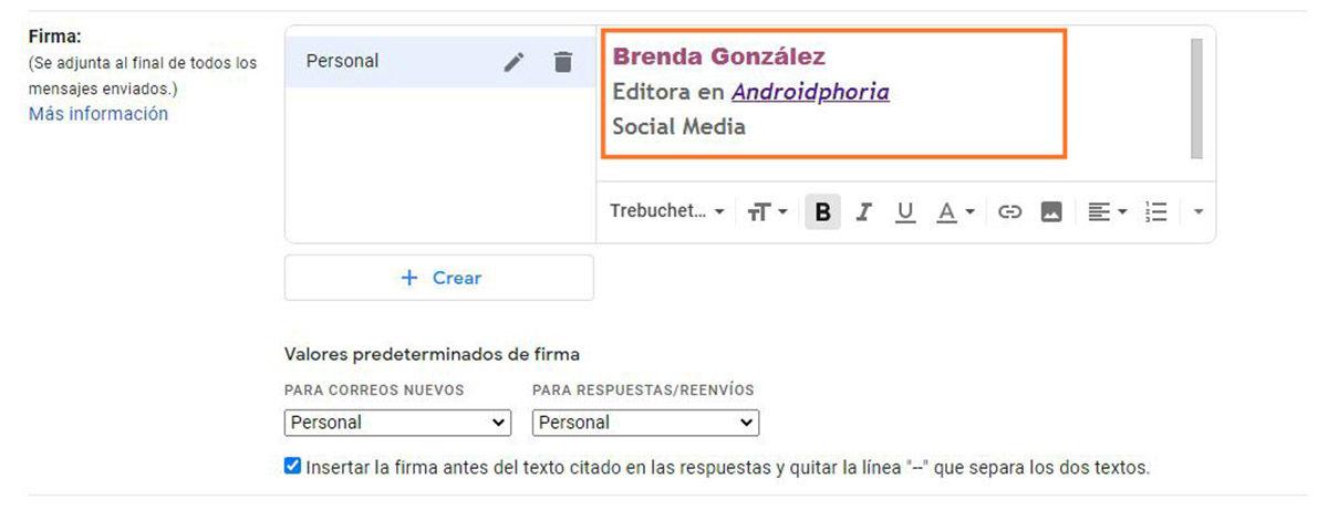 Crear la firma en Gmail paso 4