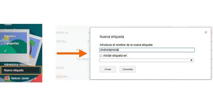 Crear nueva etiqueta en Gmail