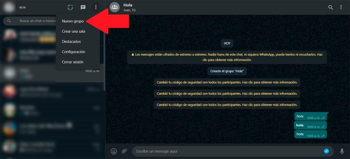 Crear nuevo grupo WhatsApp Web