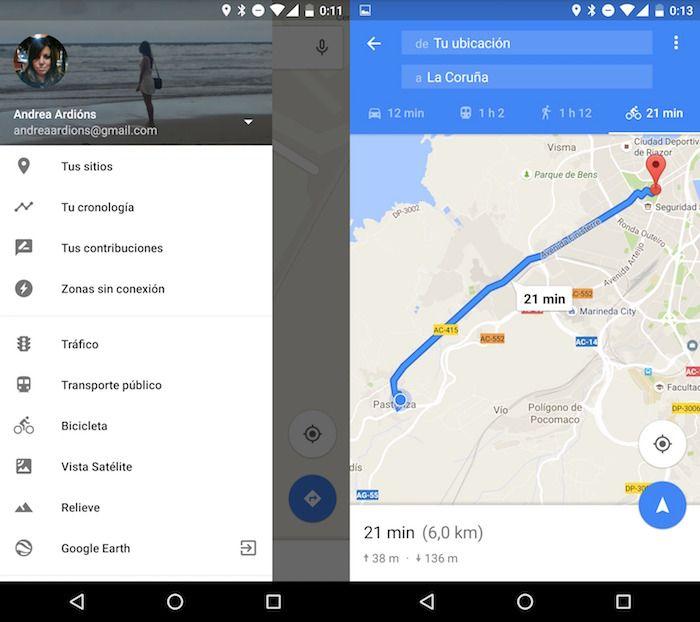 Crear ruta bici en Google Maps