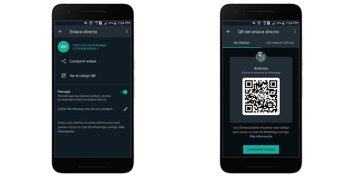 Crear un código QR en WhatsApp Business