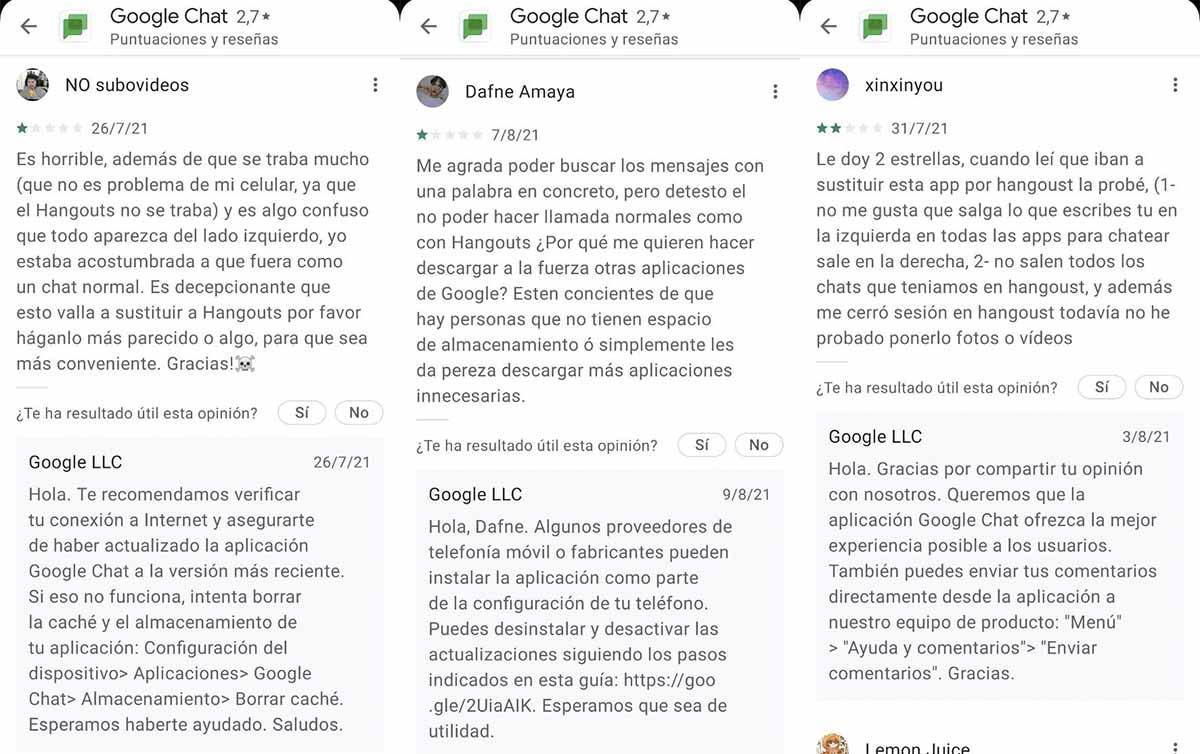 Críticas Google Chat en la Play Store