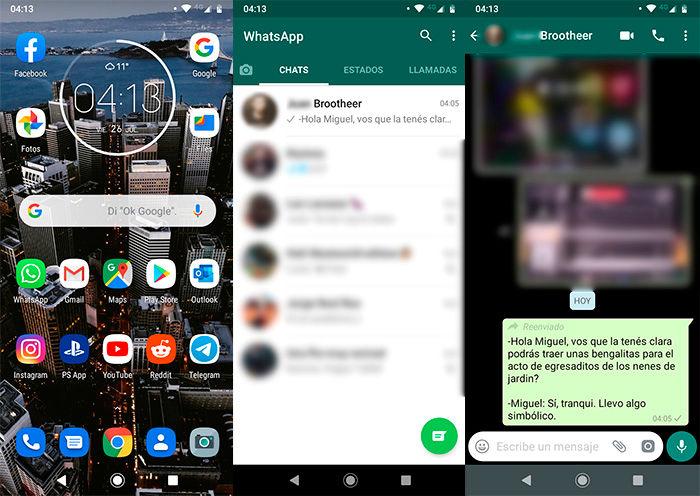 Cuantas veces reenviaron un mensaje WhatsApp paso 1