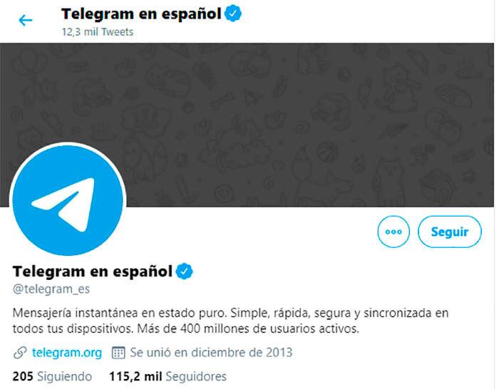 Cuenta de Telegram en Twitter