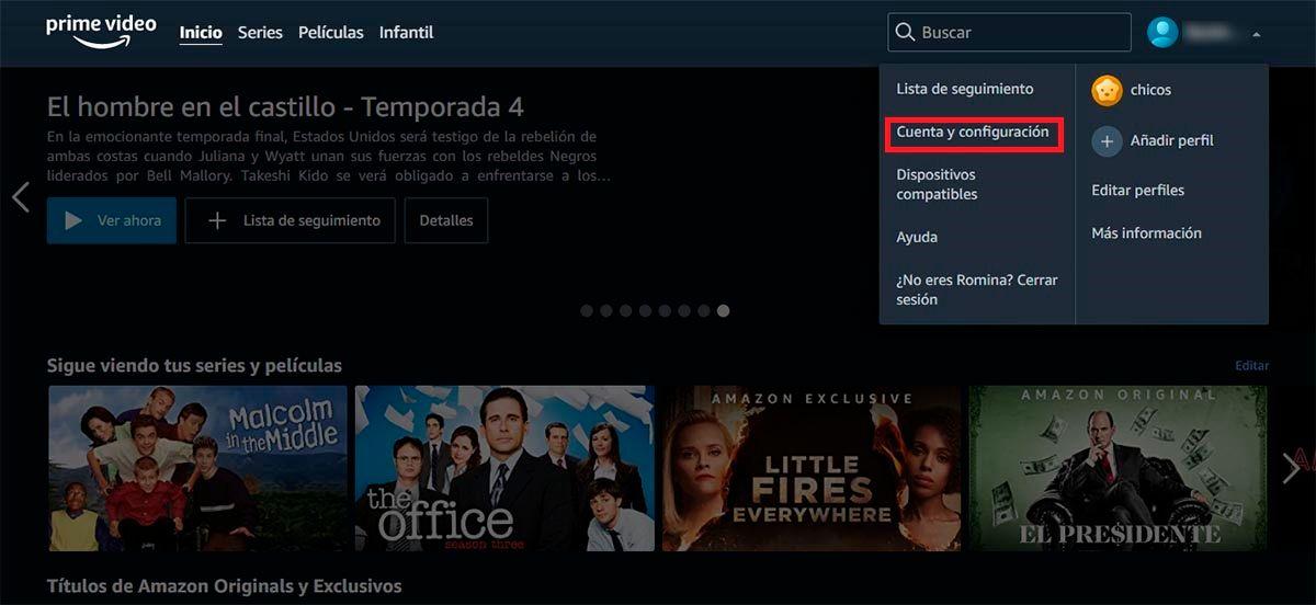 Cuenta y configuracion Amazon Prime Video