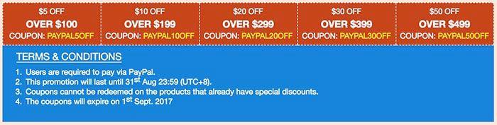 Cupones PayPal Geekbuying