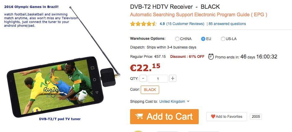 DVB T2 HDTV por 20 euros