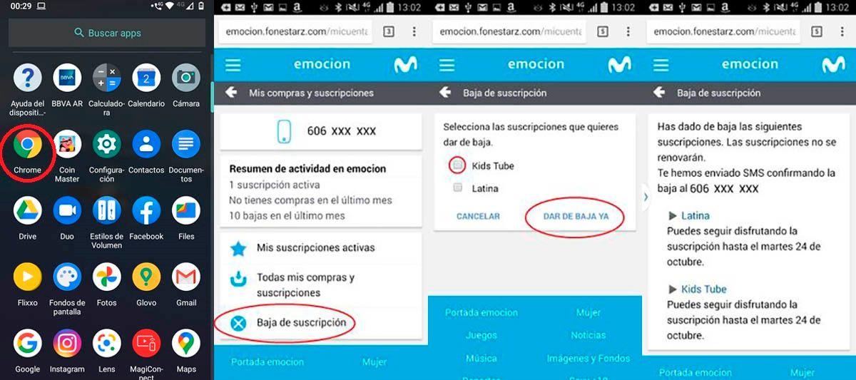 Dar de baja mensajes Premium de Movistar