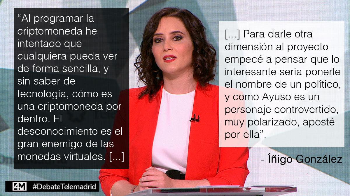 Declaraciones del creador de los Ayusocoins sobre por qué se llaman como Isabel Díaz Ayuso