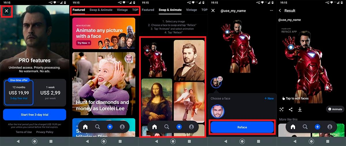 Deepfakes Reface Android