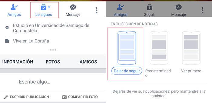 Dejar de seguir amigo Facebook
