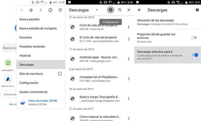 Desactivando descargas automáticas de Chrome en Android