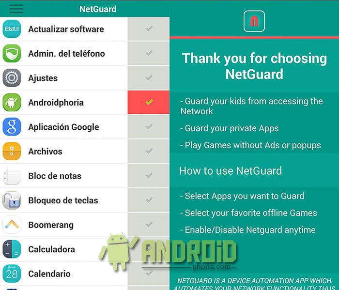 Desactivar Internet cualquier App de Android
