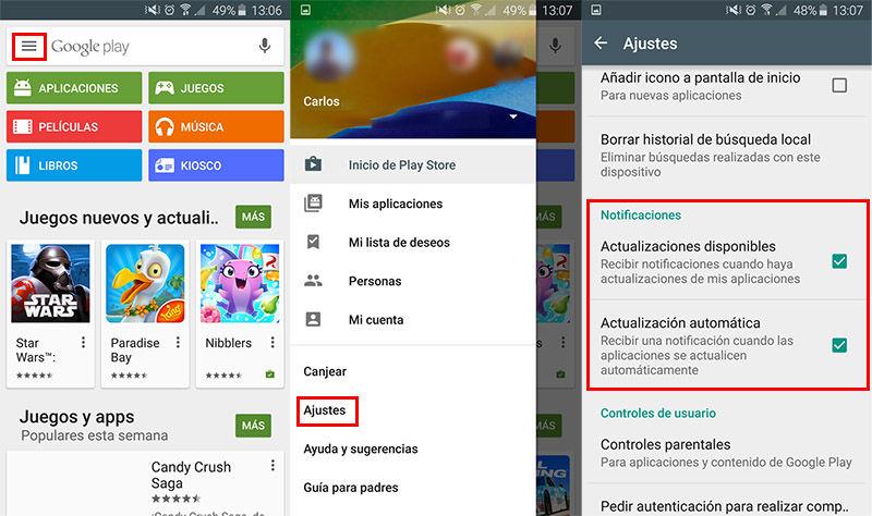Desactivar Notificaciones de actualización en Android