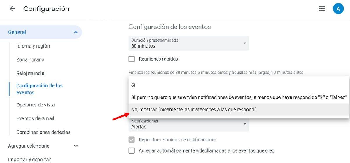 Desactivar agregar eventos automaticamente google calendar