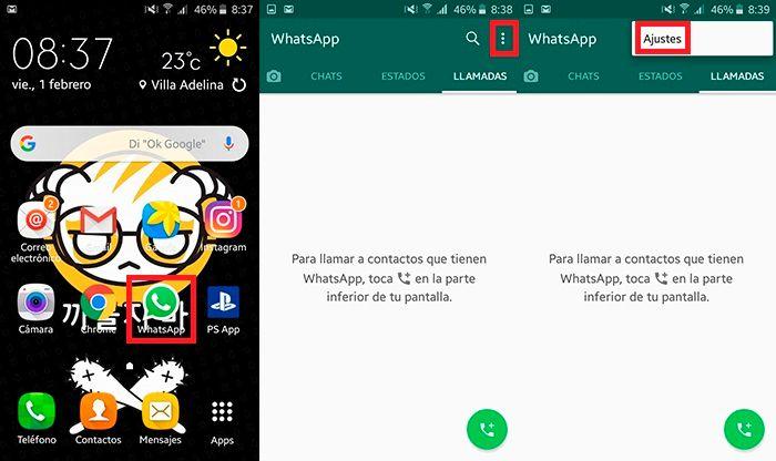 Desactivar copia de seguridad automatica WhatsApp Paso 1