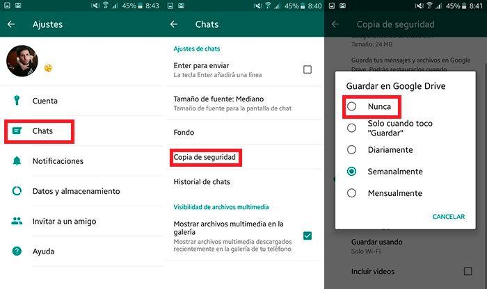 Desactivar copia de seguridad automatica WhatsApp Paso 2