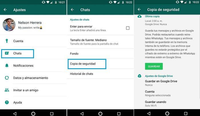 Desactivar copia de seguridad en la nube en WhatsApp