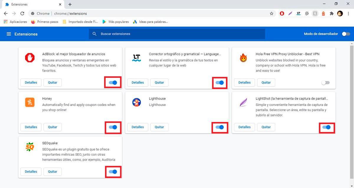 Desactivar extensiones Chrome PC