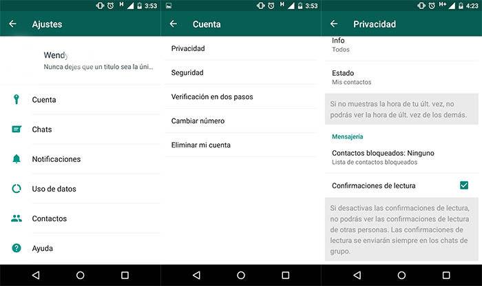 Desactivar la confirmacion de lectura en WhatsApp