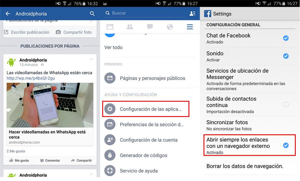 Desactivar navegador de Facebook en Android