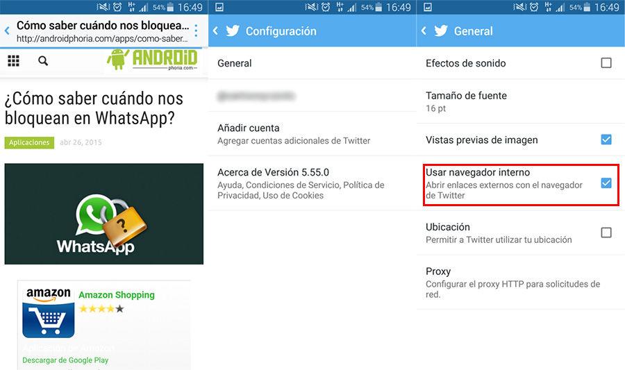 Desactivar navegador interno de Twitter en Android
