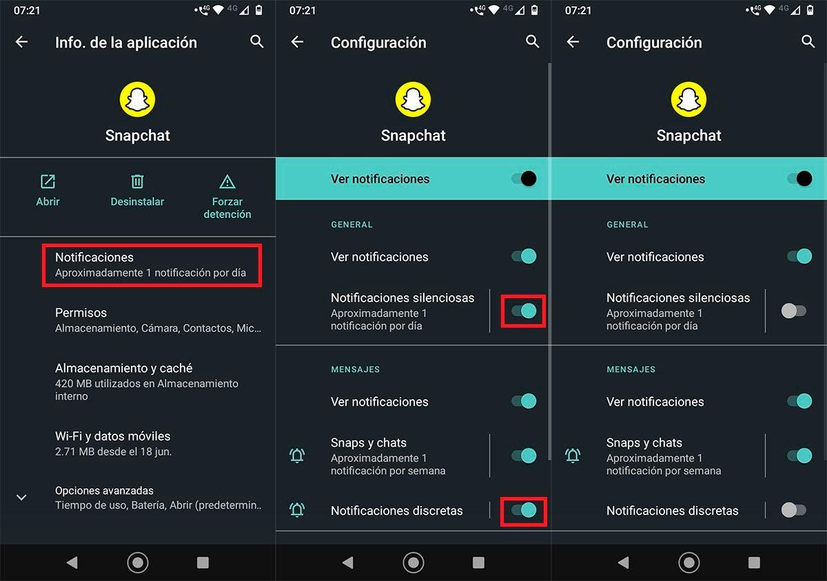 Desactivar notificacion actualiando mensajes Snapchat