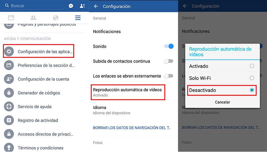 Desactivar reproducción automática de vídeos en Facebook