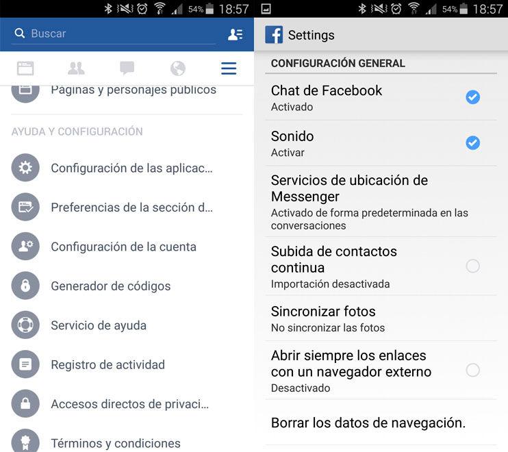 Desactivar sonidos Facebook Android