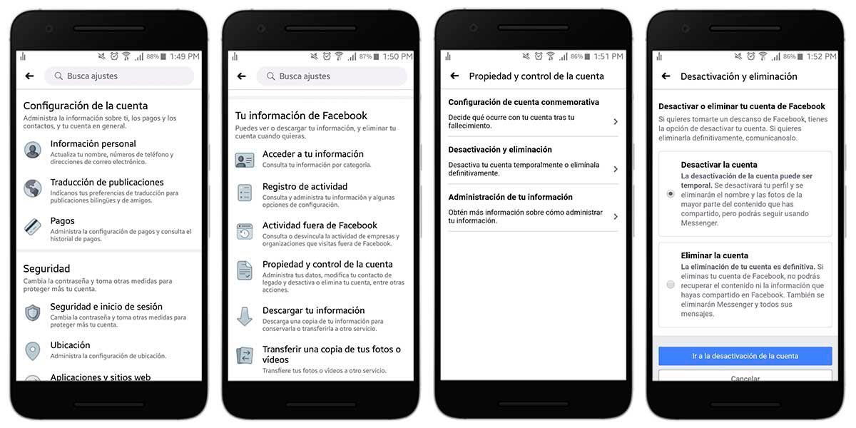 Desactivar tu cuenta de Facebook