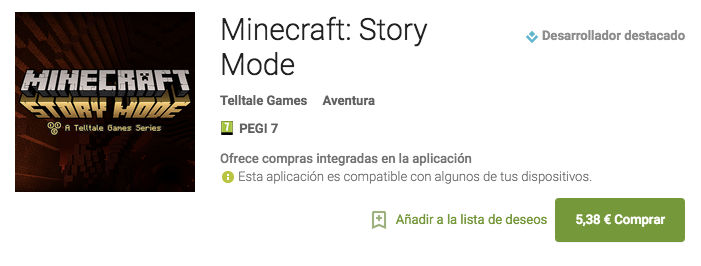 Descarga Minecraft: Story Mode en Google Play