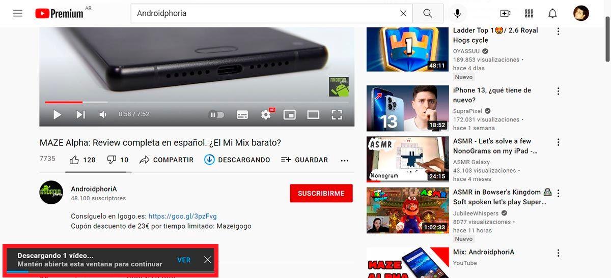 Descargando un video de YouTube desde la plataforma