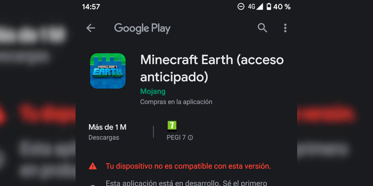 Descargar Minecraft Earth moviles android no compatibles