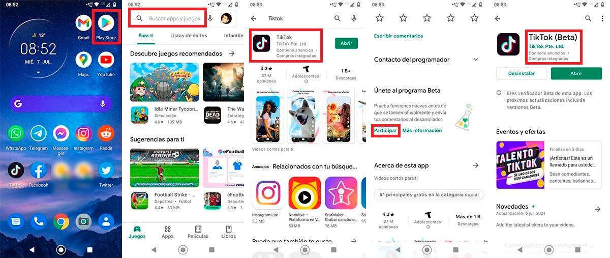 Descargar TikTok Beta desde Play Store