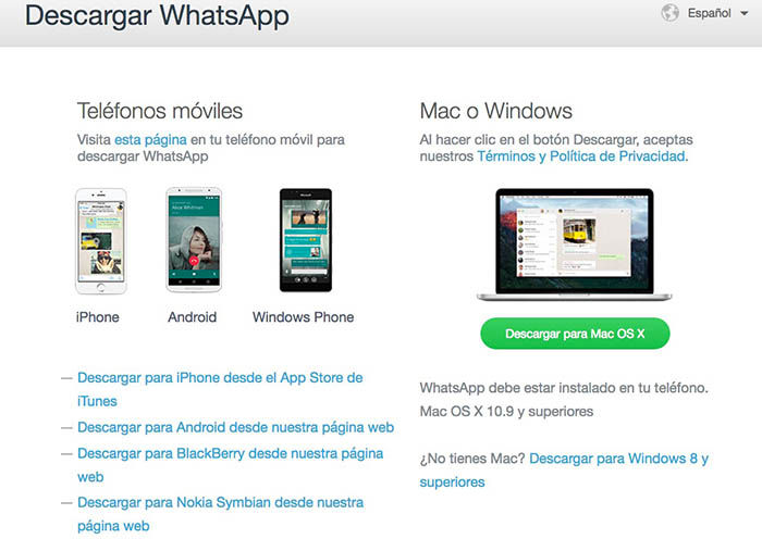 Descargar WhatsApp Mac o Windows