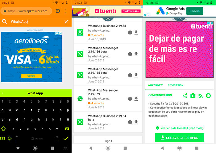 Descargar WhatsApp sin Google Play Store Paso 2