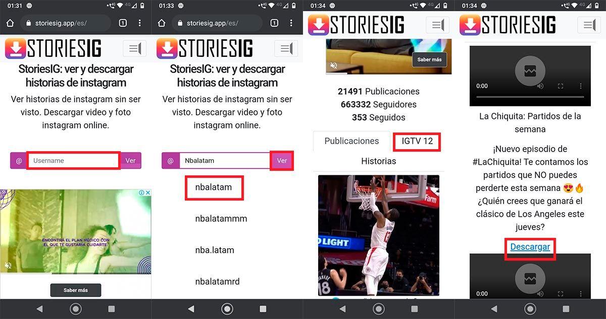 Descargar directos de Instagram de otros usuarios