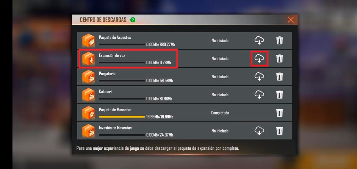 Descargar expansion de voz español Free Fire