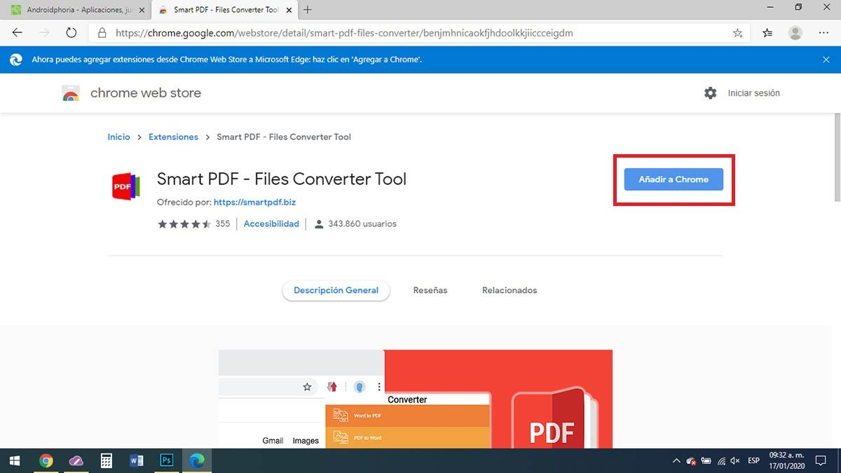 Descargar extensiones de Chrome en Edge