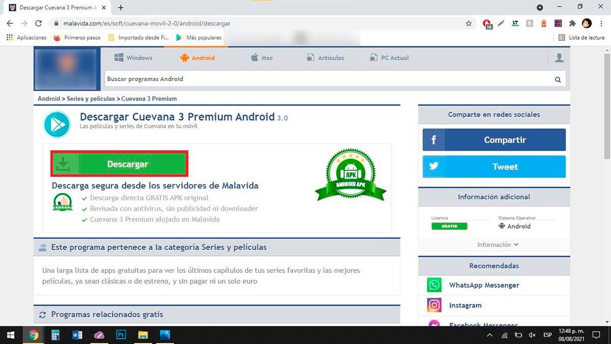 Descargar version de Cuevana 3 Premium para PC