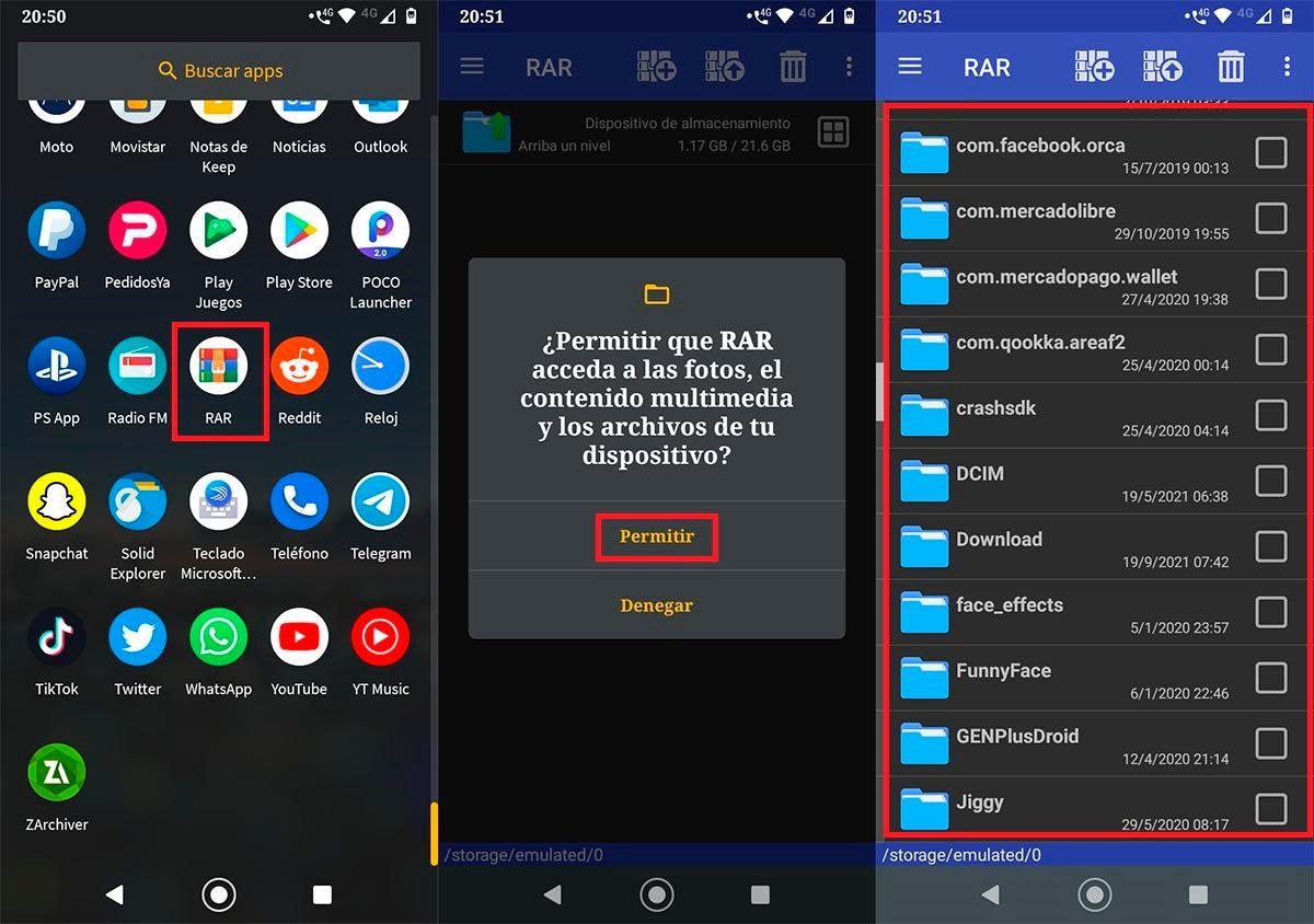 Descomprimir archivos con RAR en Android