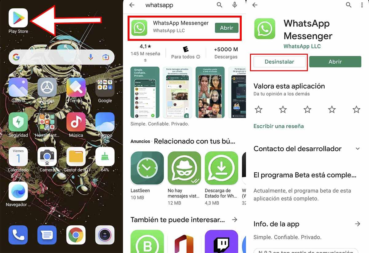 Desinstala WhatsApp de Xiaomi