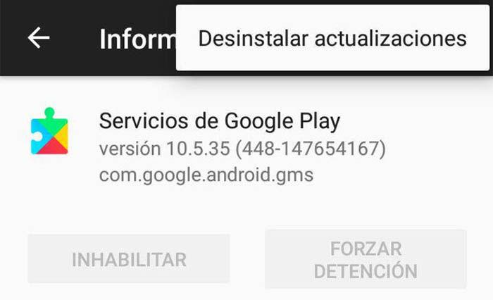 Desinstala actualizaciones de la Google Play