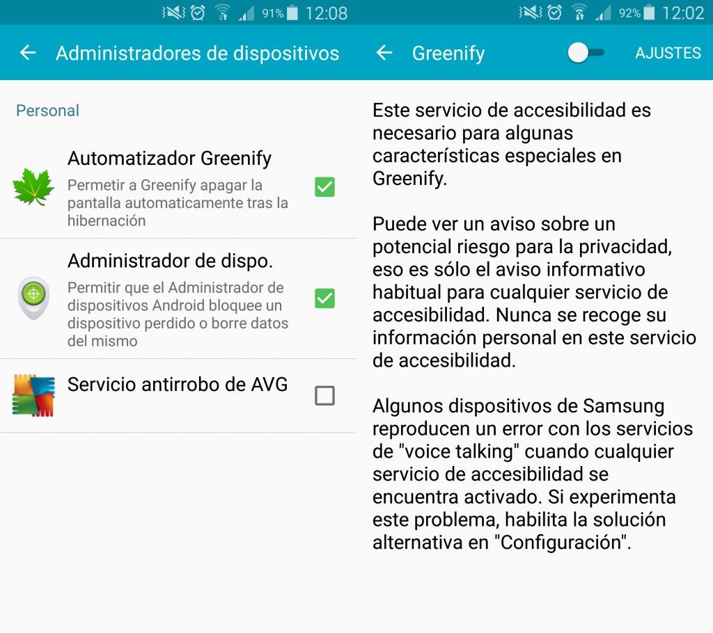 Desinstalar Greenify en Android