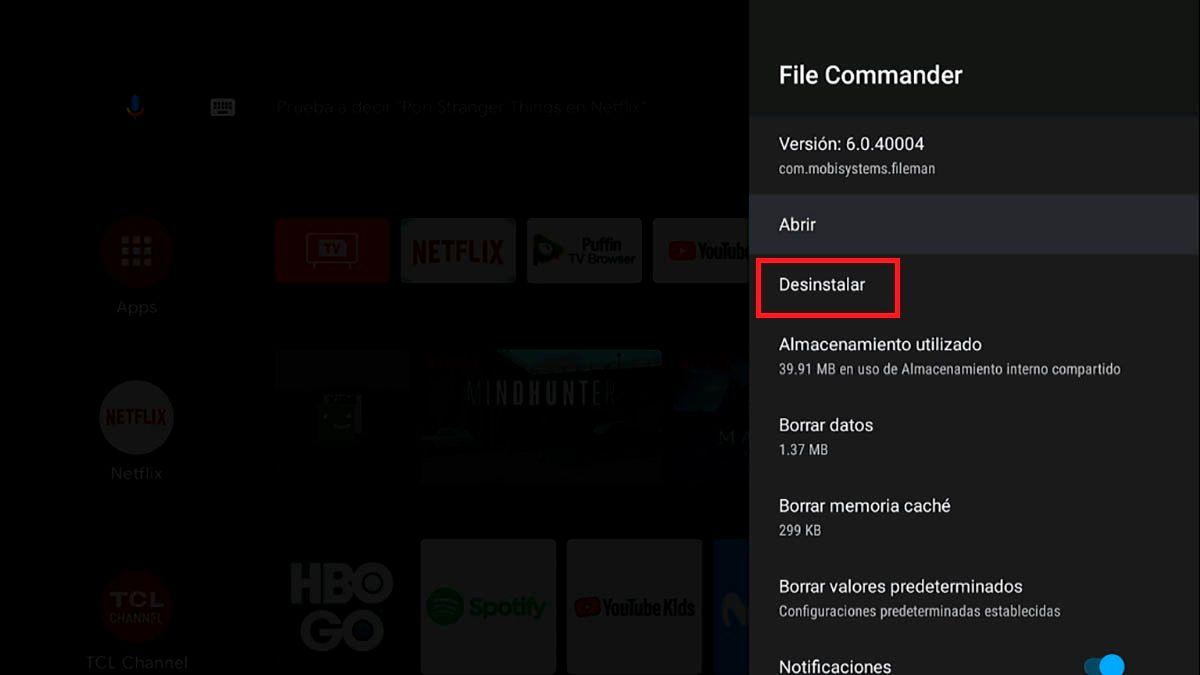 Desinstalar aplicacion Android TV