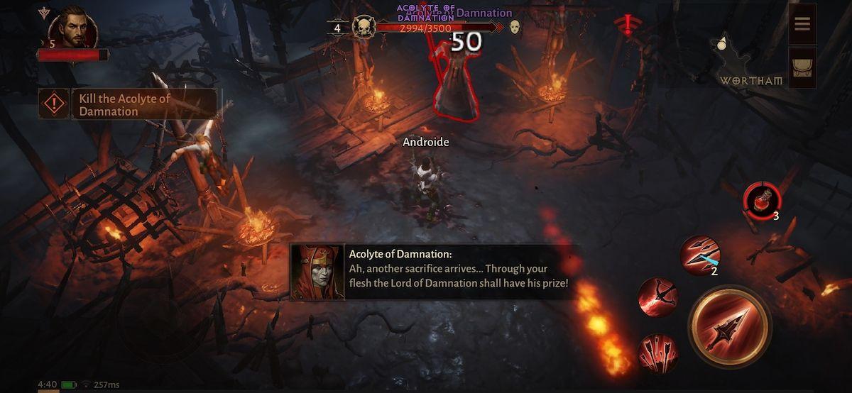 Derrotando un jefe de mazmorra en Diablo Immortal