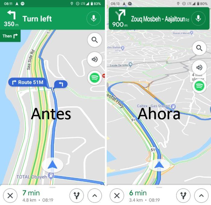 Diferencia vieja y nueva interfaz google maps