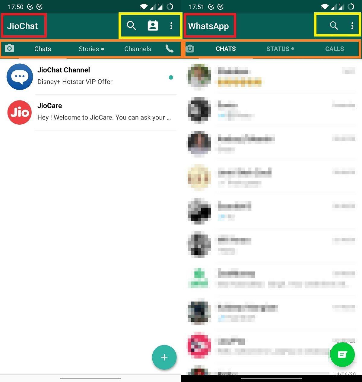 Diferencias entre JioChat y WhatsApp