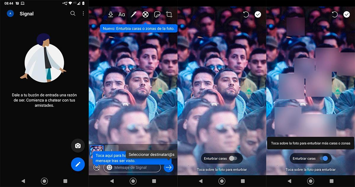 Difuminar caras Signal WhatsApp