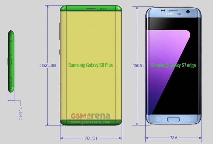 Dimensiones Galaxy S8 Plus